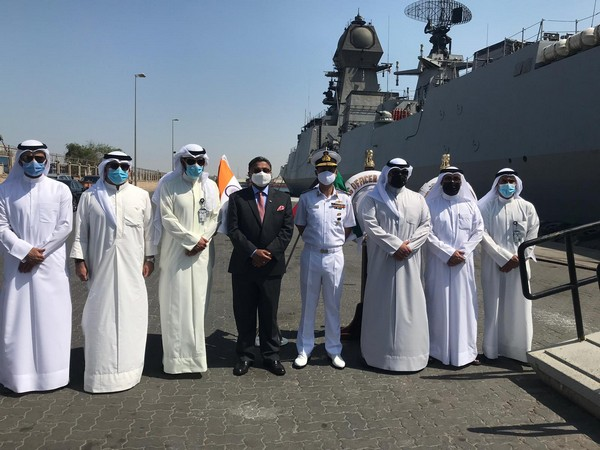 INS Kolkata arrives at Shuwaikh Port, Kuwait (Photo Credit: Twitter/ India in Kuwait)