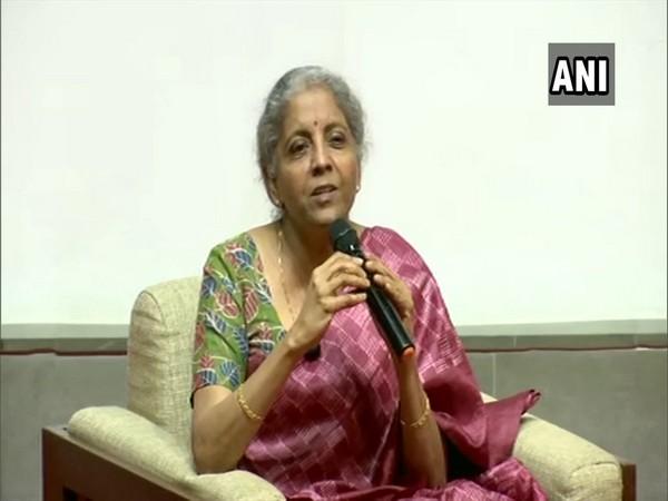 Union Finance Minister Nirmala Sitharaman during an event at IIM Ahmedabad. (Photo/ANI)