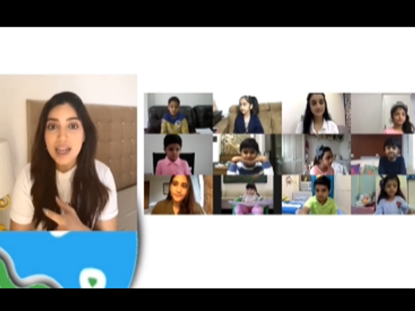 Actor Bhumi Pednekar interacting with young kids on climate change (Image source: YouTube)