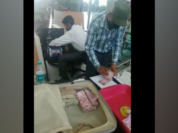Rs 75 lakhs recovered from a customs officer at Bengaluru airport (Photo/ ANI)