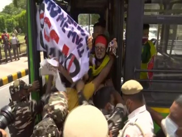 Tibetan Youth Congress members protesting against 100 years of CCP at Chinese Embassy (ANI)