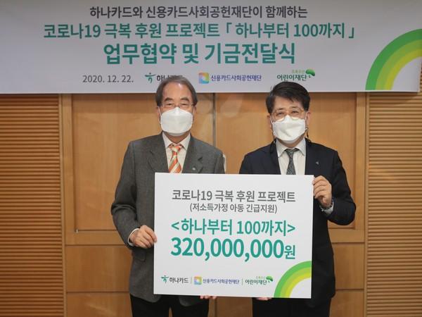 Last year the CEO of Hana Card Jang Kyung-hoon donated 300 million won to the Green Umbrella Children's Foundation. (Photo/Hana Card)