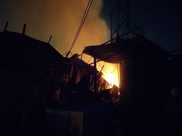 Visual of fire in Delhi's Shastri Park (Photo/ANI)