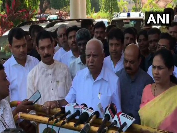 Karnataka Chief Minister BS Yediyurappa at the press conference in Karnataka on Wednesday. Photo/ANI