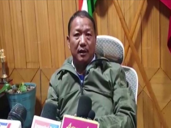 Arunachal Pradesh Home Minister Bamang Felix speaking to reporters in Itanagar on Tuesday. Photo/ANI