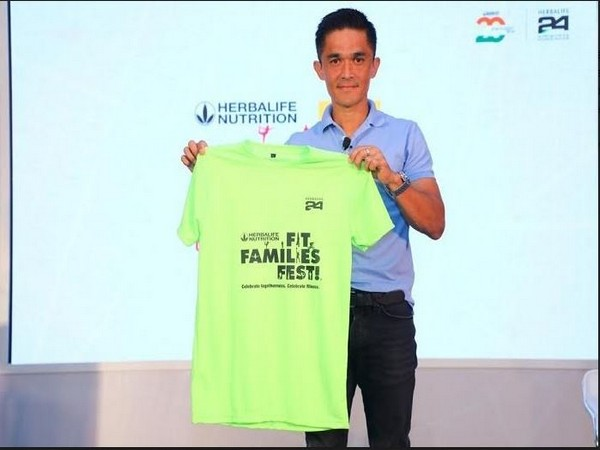 Indian Football legend, Sunil Chhetri unveils the Herbalife Nutrition Fit Families Fest kit.