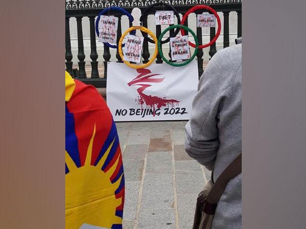 Protest in France demanding boycott of 2022 Beijing Olympics