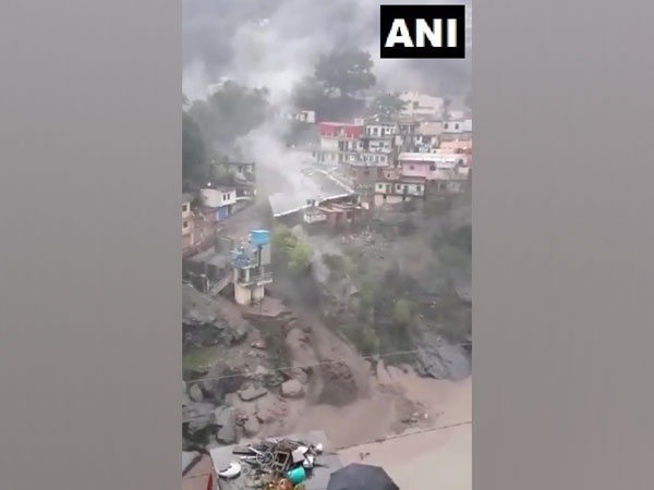 A visual of the cloudburst incident in Devprayag, Uttarakhand on Tuesday. (Photo/ANI)
