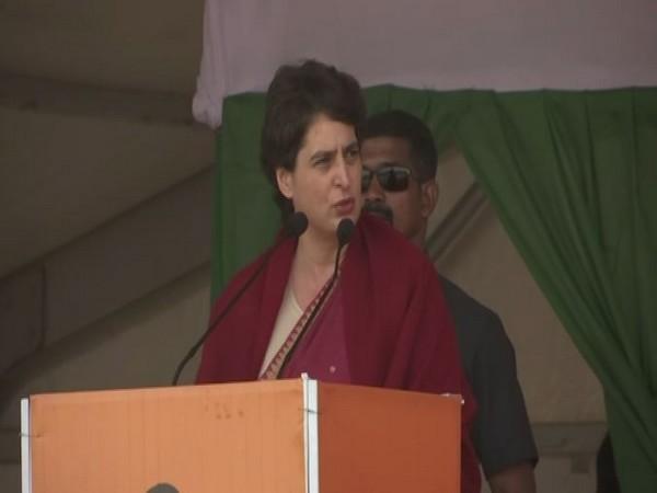 Congress leader Priyanka Gandhi Vadra addressing an election rally in Pakur on Wednesday. Photo/ANI