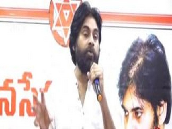 Jana Sena Party chief Pawan Kalyan addressing party workers at Tirupati on Tuesday in Andhra Pradesh. Photo/ANI