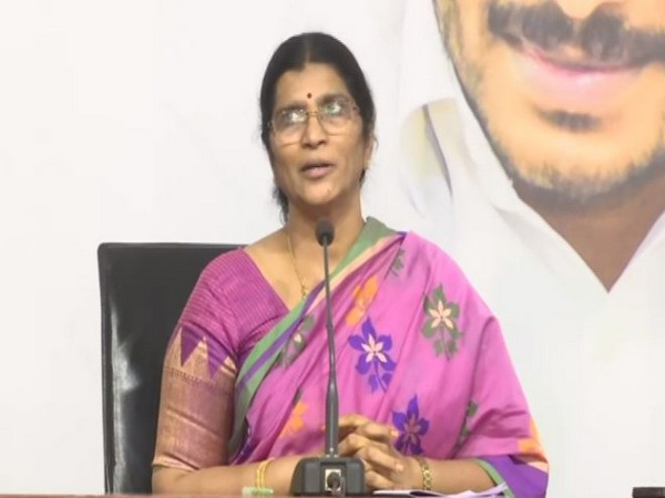 YSRCP General Secretary Lakshmi Parvathi at a press conference . Photo/ANI