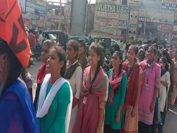 Girl students from ABVP protested in Dilsukha Nagar in Telangana's Hyderabad on Saturday. Photo/ANI