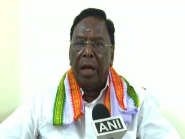 Puducherry Chief Minister V Narayanasamy speaking to ANI on Sunday.