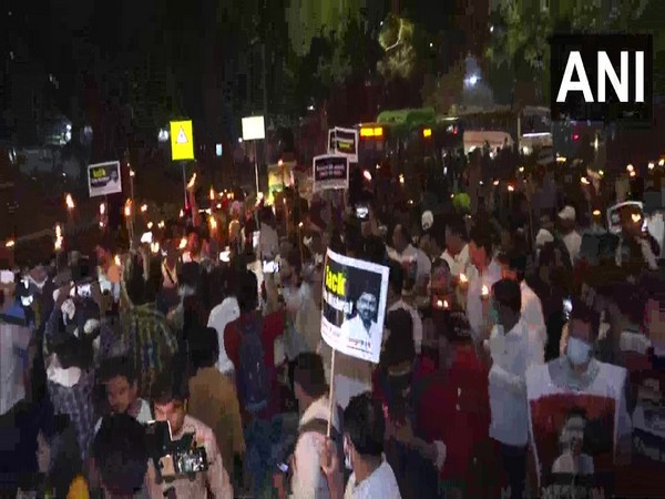 Youth Congress holds torchlight march in Delhi over Lakhimpur Kheri incident