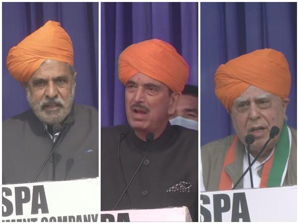 Congress leaders Anand Sharma, Ghulam Nabi Azad (Centre) and Kapil Sibal. (Photo/ANI)