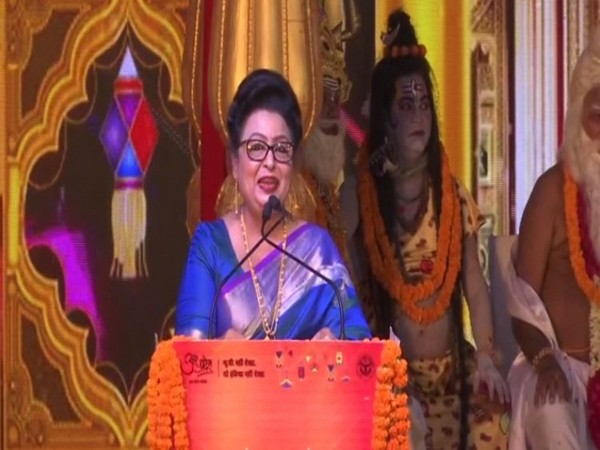 Fijian minister Veena Kumar Bhatnagar speaking at an event in Ayodhya on Saturday. Photo/ANI