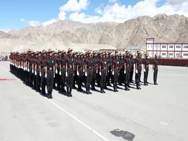 A visual of the recruits performing parade in Leh on Sunday.  Photo/ANI