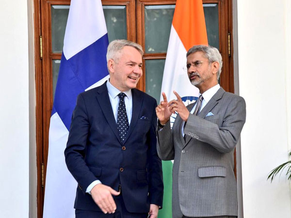 EAM S Jaishankar and Finland's Foreign Minister Pekka Haavisto in New Delhi on Wednesday. Photo/Twitter