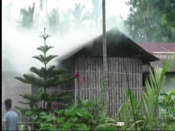 The fire-affected home of the family which tried to commit sacrifice of a child (Photo/ANI)