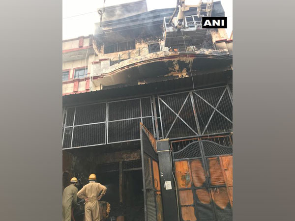 A visual from the fire incident at the factory in New Delhi.