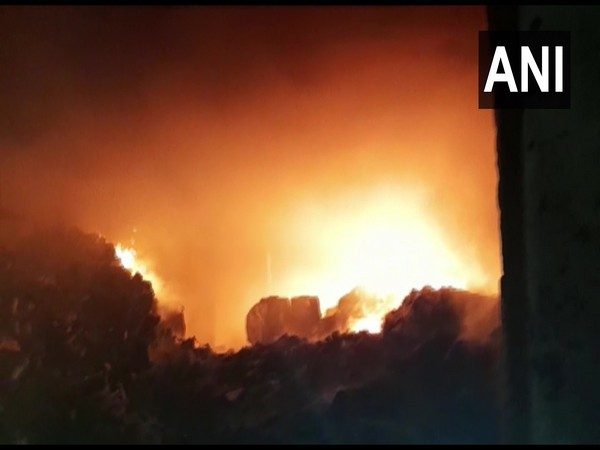 Fire breaks out at a manufacturing factory of medical equipment in Sahibabad Industrial Area Site 4. (Photo/ANI)
