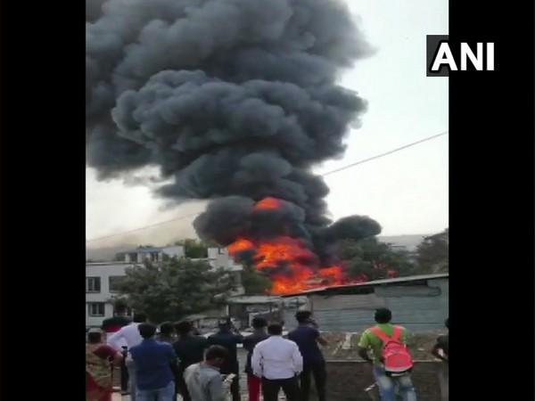 Fire breaks out a godown in Pune's Bibvewadi area (Photo/ ANI)