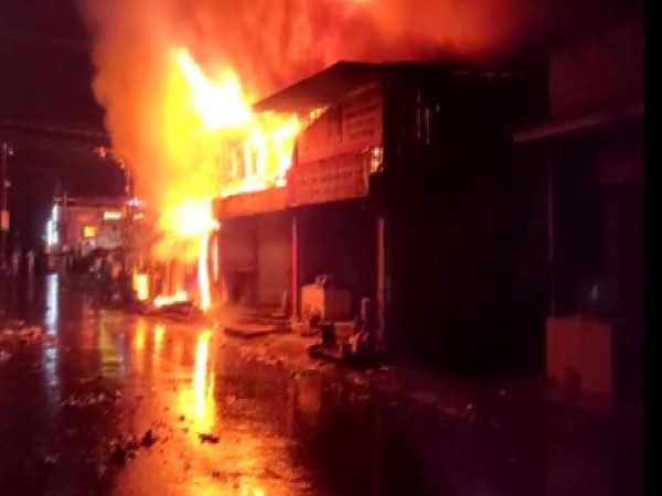 Fire at the Junction market in Siliguri. Photo/ANI