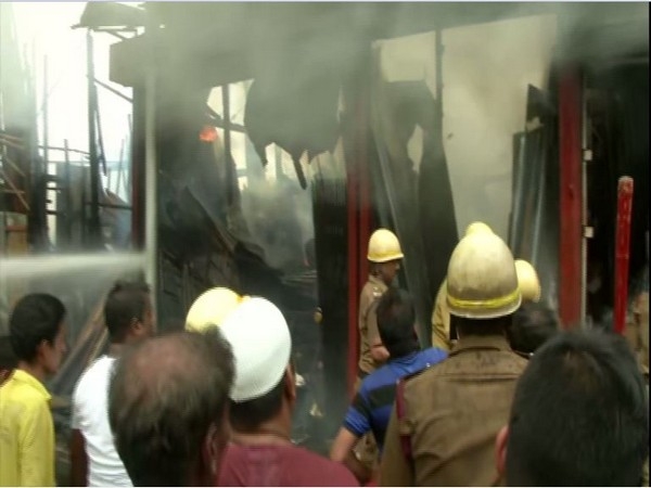 Visuals of fire that broke out at Park Circus in Kolkata on Wednesday. Photo/ANI