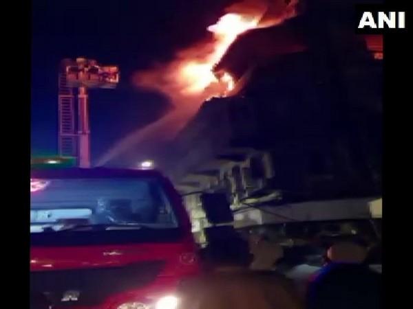 Visuals of fire atBhendi BazaarinMumbaion Thursday night.