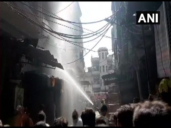 A fire broke out at a multi-storey plastic factory building at Shahjada Bagh area in Delhi. (Photo/ANI)