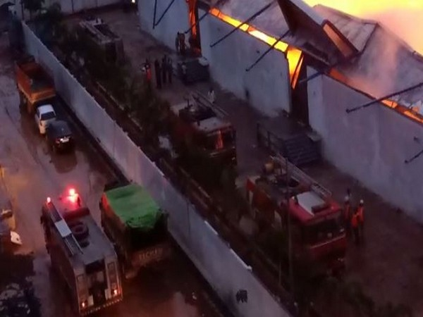Fire at godown of Britannia biscuits factory on Saturday in Krishna District Andhra Pradesh