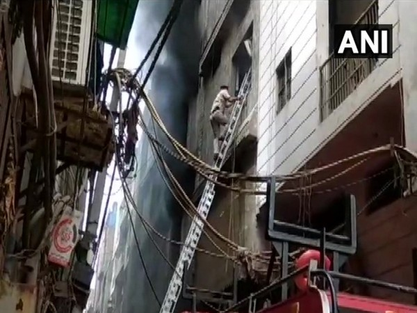 Fire broke out in a rubber factory in Jhilmil industrial area on Saturday in New Delhi. Photo/ANI