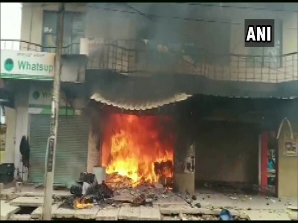 Shop that caught fire in Govindpuram area. (Photo/ANI)
