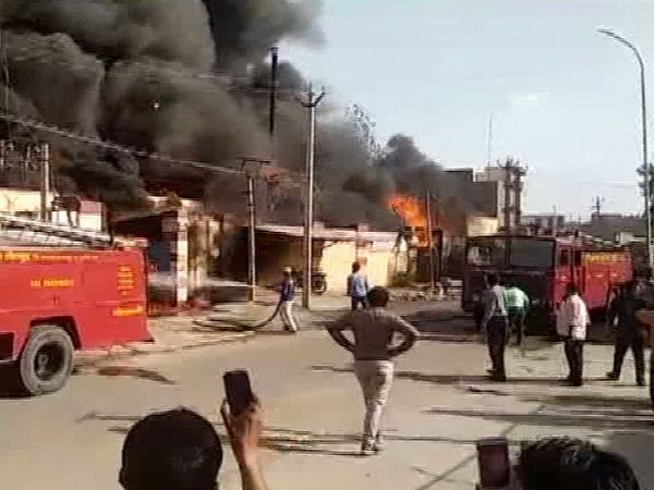 Massive fire broke out at a chemical factory in Bansi Industrial area in Jodhpur on Saturday.