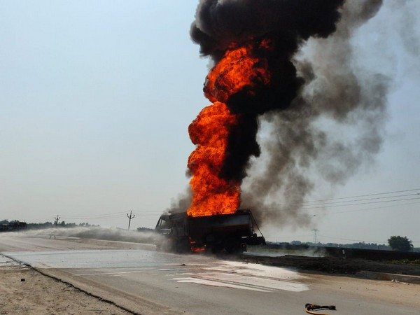 Oil tanker catches fire after a clash with a dumper on Thursday. Photo/ANI