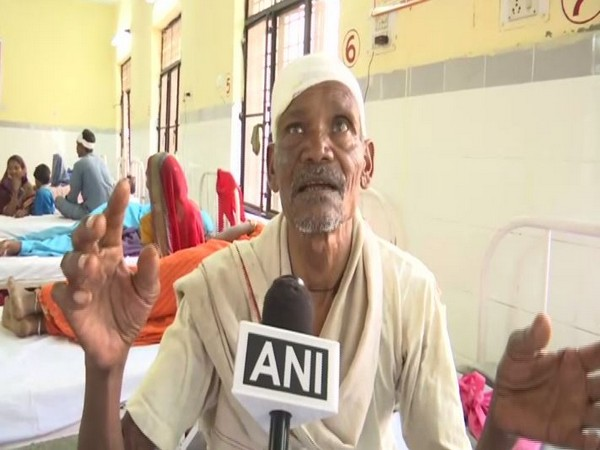 Chhote Lal, who was injured in the firing, talking to ANI in Sonbhadra on Sunday. Photo/ANI