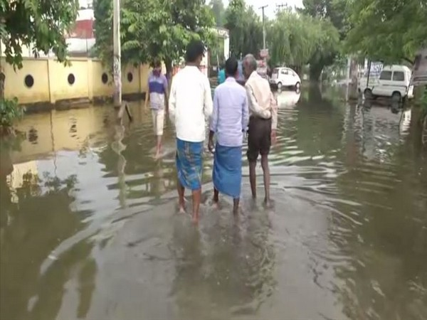 The view of a waterlogged road in Patna on Sunday. Photo/ANI