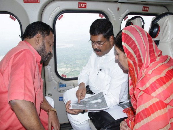 Union Minister for Petroleum and Natural Gas Dharmendra Pradhan conducting aerial survey of flood-hit areas in Odisha on Saturday along with two BJP MPs.