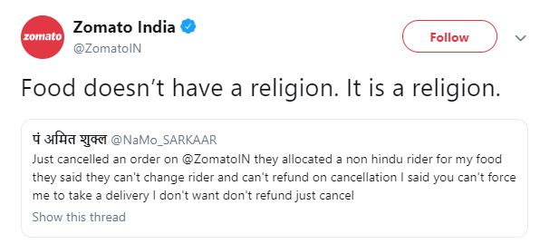Zomato`s savage reply to customer who cancelled order for `non-Hindu