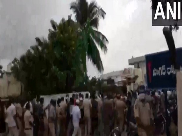Visuals from protest against TRS leaders visit to Rangareddy, Telangana. (Photo/ANI)