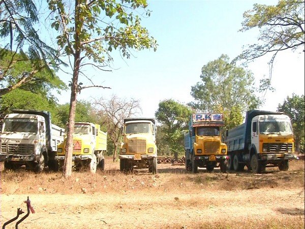 Ten vehicles were seized by Forest department in Shivamogga on Tuesday for illegal mining. Photo/ANI