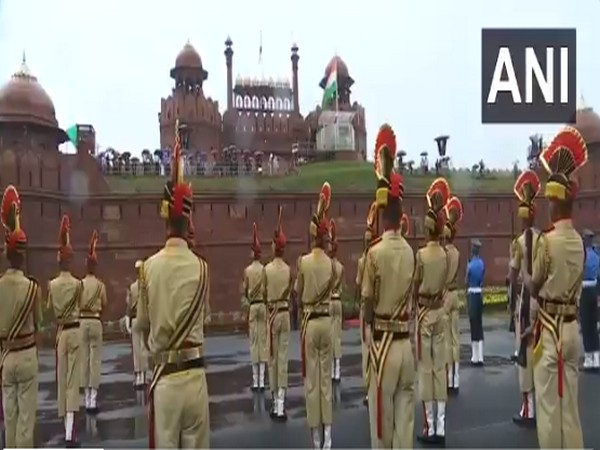 A visual of the rehearsal at Red Fort, in New Delhi. (Photo/ANI)