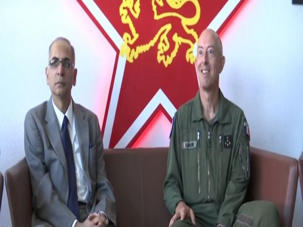 The Ambassador of India to France, Vinay Mohan Kwatra with the Chief of Staff of the French Air Force, General Philippe Lavigne in Mont-de-Marsan on Friday (Photo/ANI)