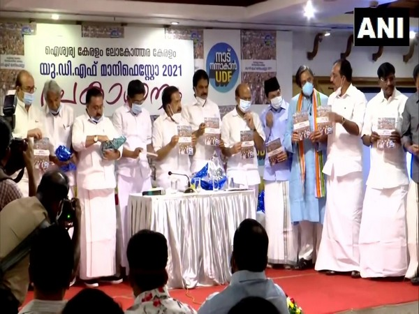 Visual of UDF releasing its election manifesto for Kerala Assembly polls