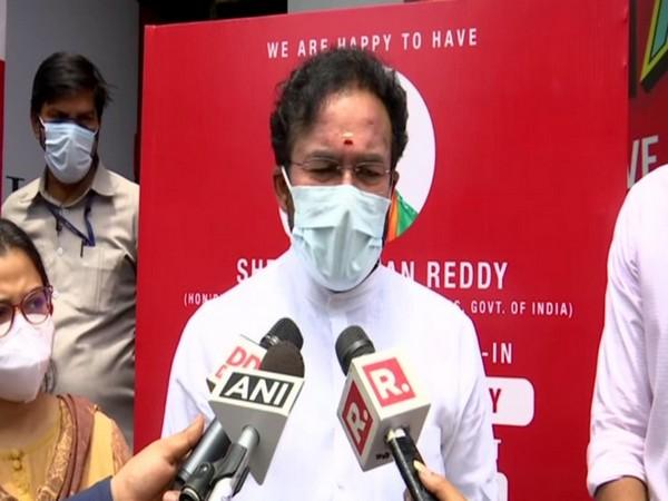 Union Minister G Kishan Reddy at Chanakyapuri drive-through vaccination centre (Photo/ANI)