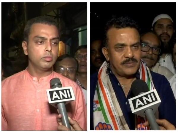 Milind Deora, left, and Sanjay Nirupam, right, speaking to ANI on Monday in Mumbai.