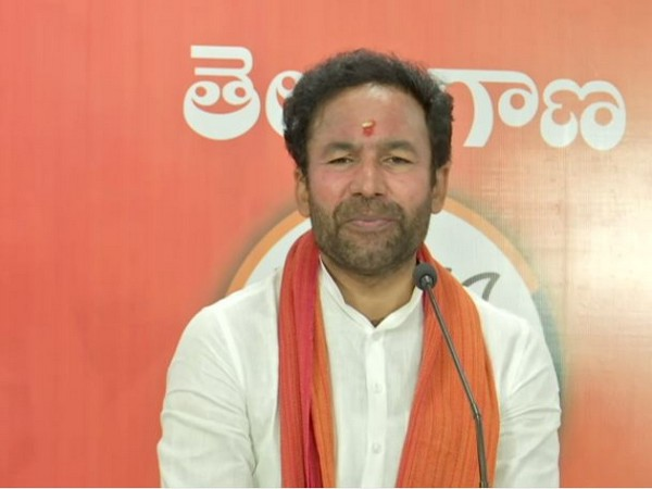 Union minister and BJP leader G Kishan Reddy addresses a press conference at the party headquarters in Hyderabad on Monday. (Photo/ANI)