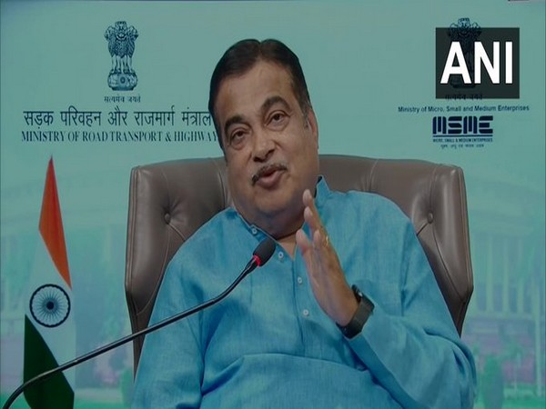 Union Minister for MSME Nitin Gadkari speaking at an event via video conference.