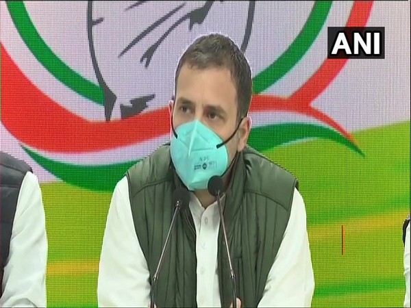 Congress leader Rahul Gandhi addressing a press conference in New Delhi on Tuesday.