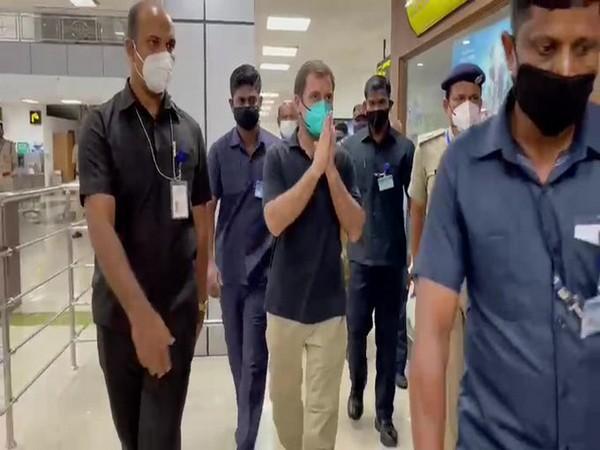 Congress leader Rahul Gandhi reached at Calicut International Airport. (Photo/ANI)